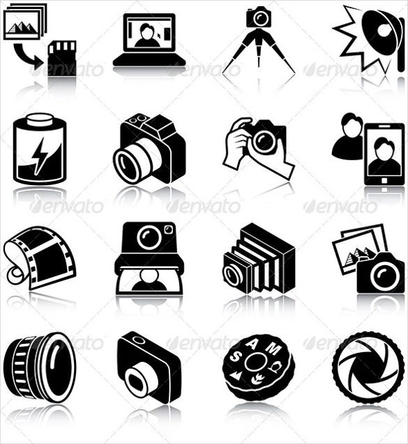 simple photography icons set