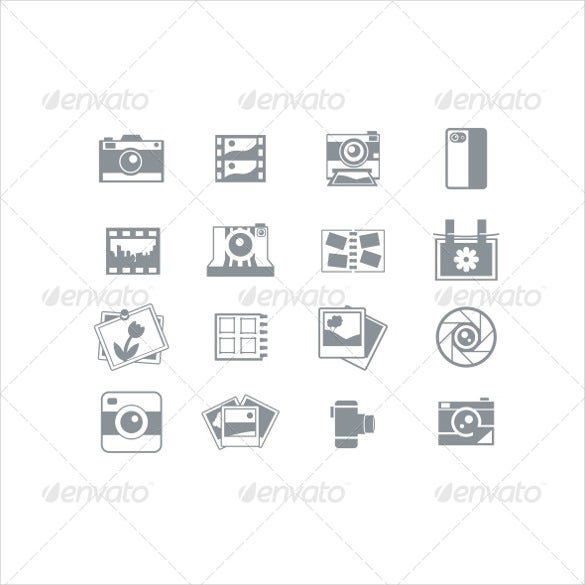 photography icon set in eps format