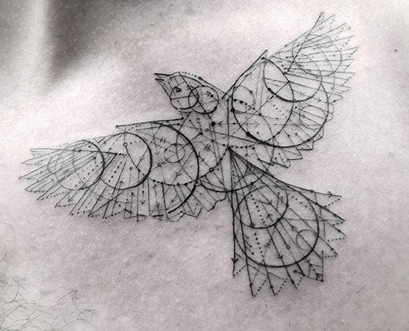 geometric tattoo bird design