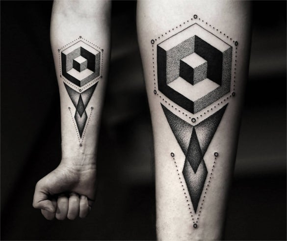 geometric tattoo idea on four arm