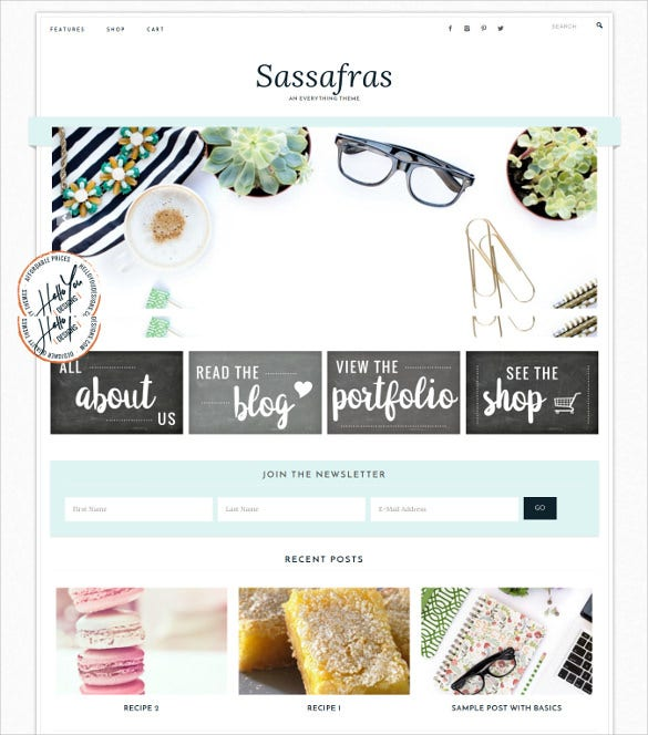 sassafras genesis wordpress theme