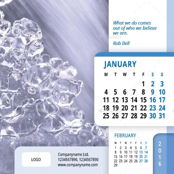 desk calendar 2016 template
