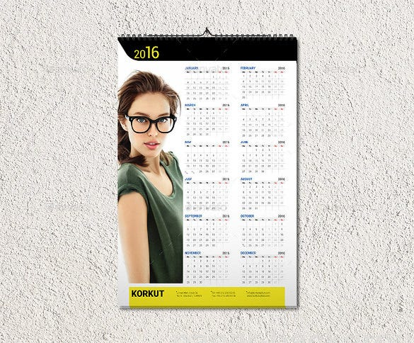 beautiful wall calendar 2016 template