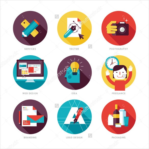 modern flat design photography icons
