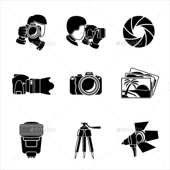 monochrome photography icons download template