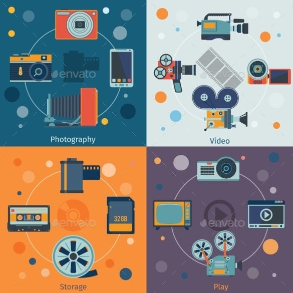 video photography icon set