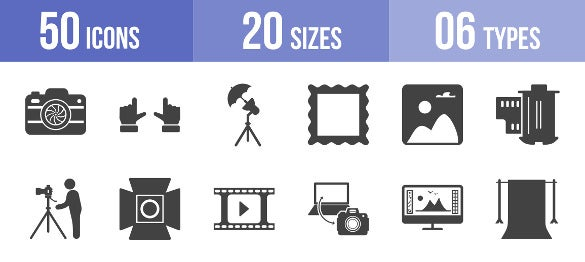 50 photography icon set template download