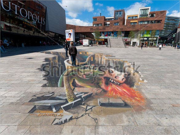 modern 3d street art painting template
