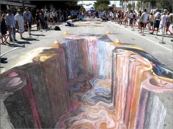3d street art is created by painting template