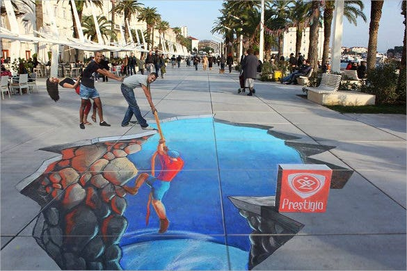 split 3d street art painting template
