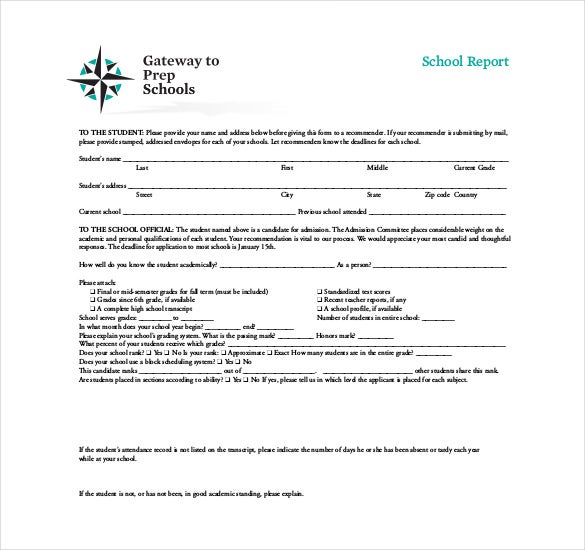 pre school report template