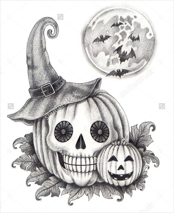 halloween skull in pumpkin style