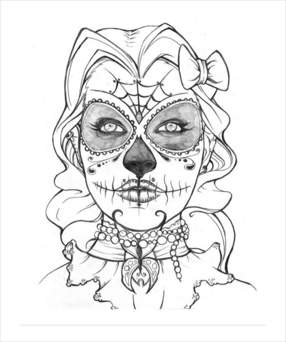 sugar skull coloring pages coloring page download - Sugar Skull Coloring Page
