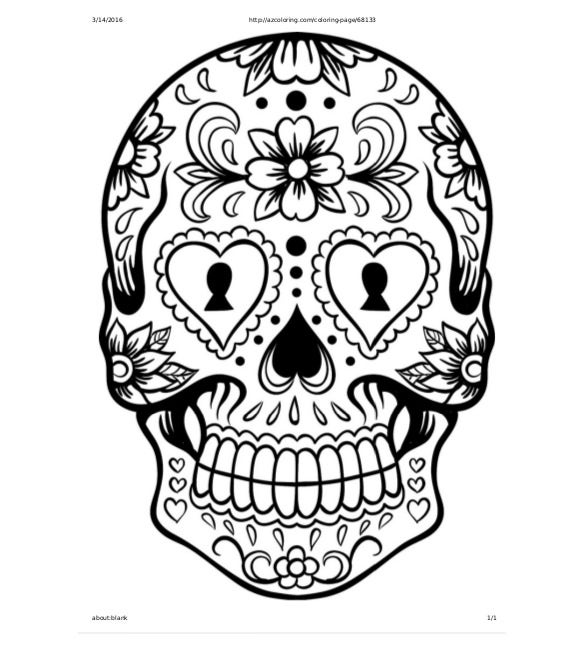 extra large sugar skull coloring page free template