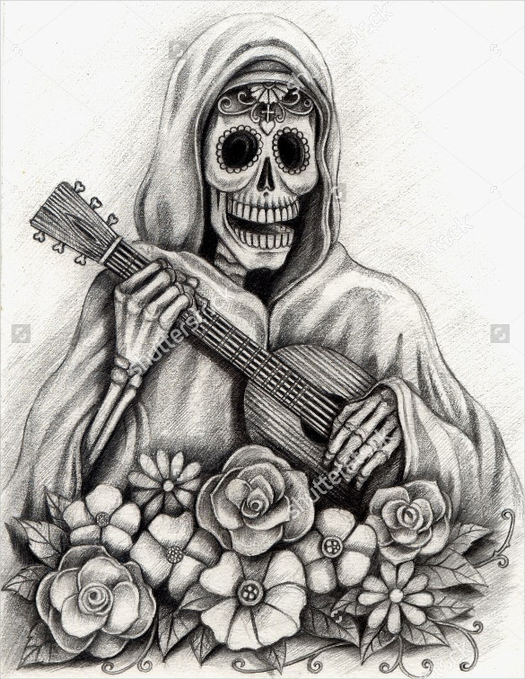 hand drawing of skull with guitar on paper