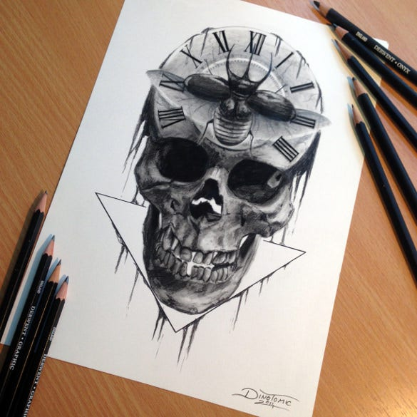 skull pencil drawing template download