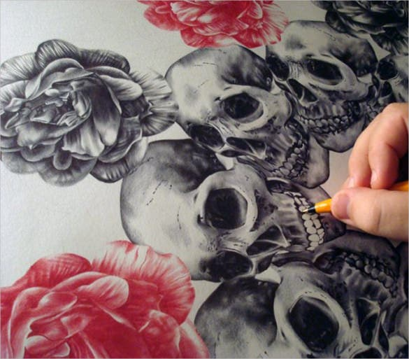 skull drawing with flowers template