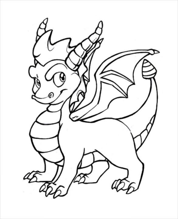 coloring page of spyro dragon drawing template