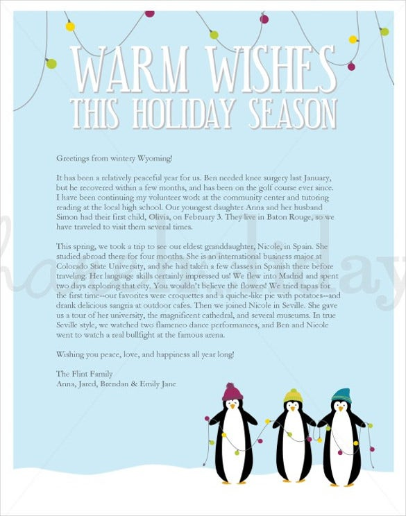 prinable penguikn holiday letter template