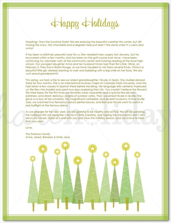 Holiday Letter Template   Free Word Pdf Psd Format Download