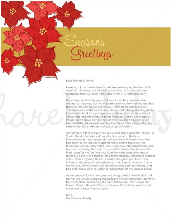 Holiday letter template 16 free word pdf psd format download perfect poinsettia holiday letter template spiritdancerdesigns Images