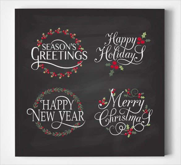 happy holiday lettering template set