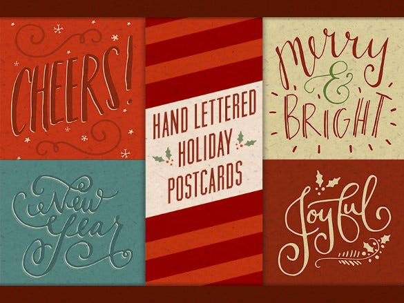 unique hand lettered holiday postcard template