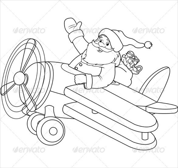 santa on plane coloring page
