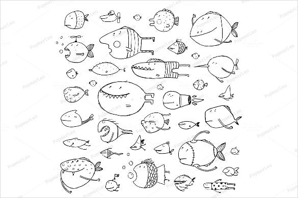 fishes coloring page