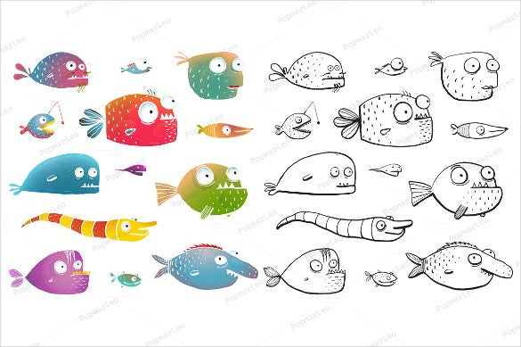 cartoon fishes coloring pages