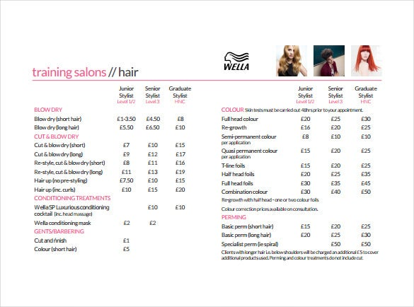 Beautiful Salon Price Sheet PDF Template Free Download Regarding Price Sheet Template