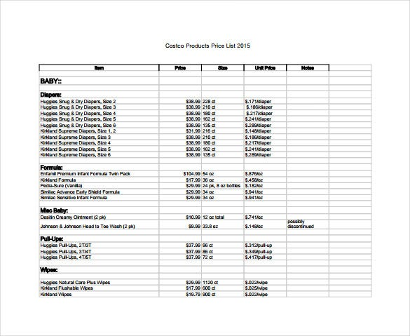 pricing schedule template price sheet templates 12 free excel word documents