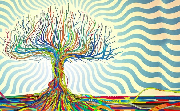 colorful tree trippy background template