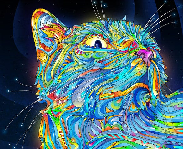 electronic cat trippy background template