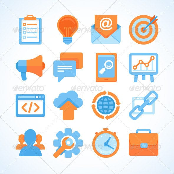 flat vector seo icons download