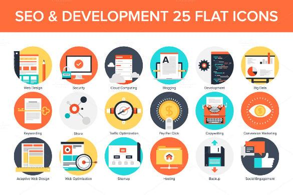 seo development flat icons