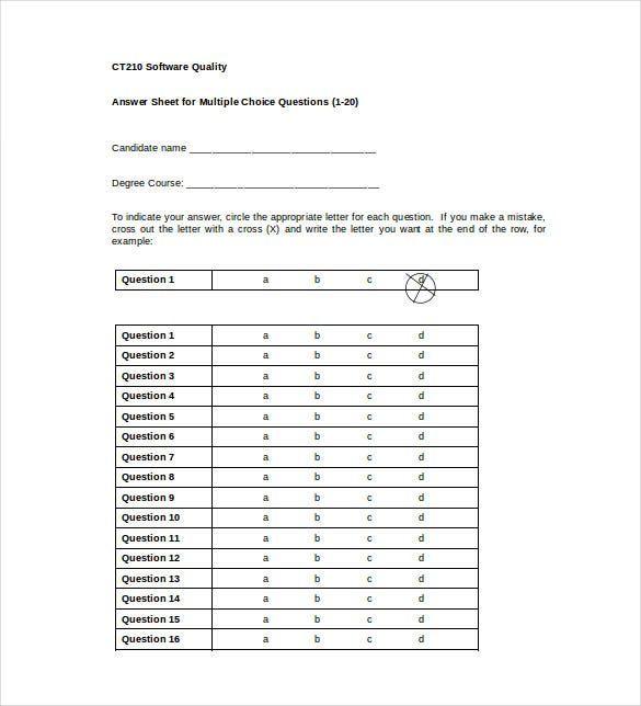 11 printable answer sheet templates samples examples free answer sheet for multiple choice questions maxwellsz