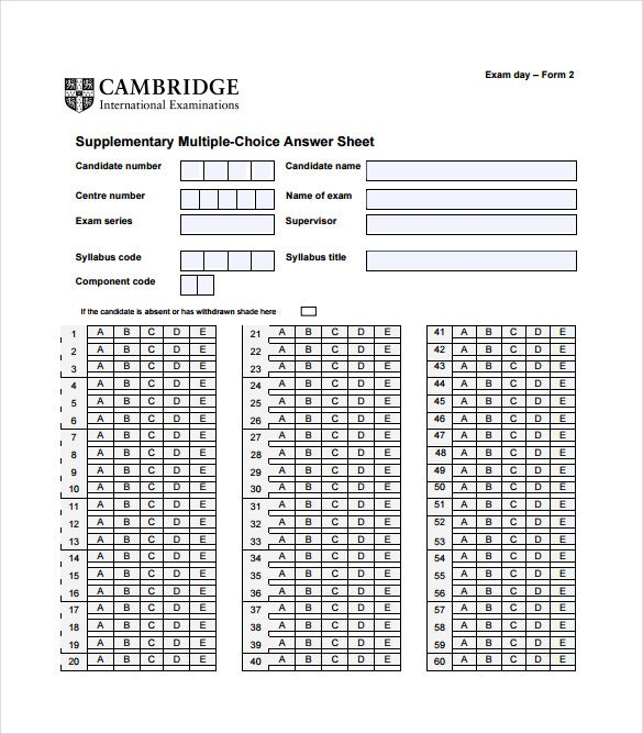 Delicieux Supplementary Multiple Choice Answer Sheet PDF Free Download