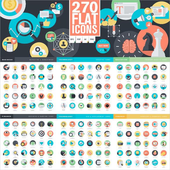 set of flat designed seo icons