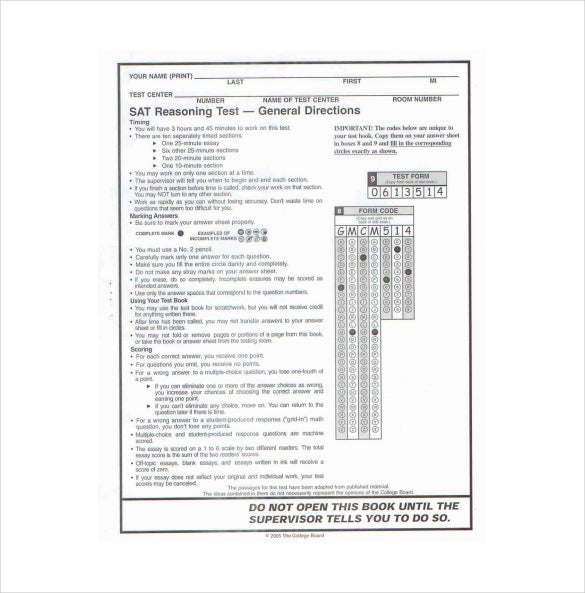 sat diagnostic answer sheet free pdf template download