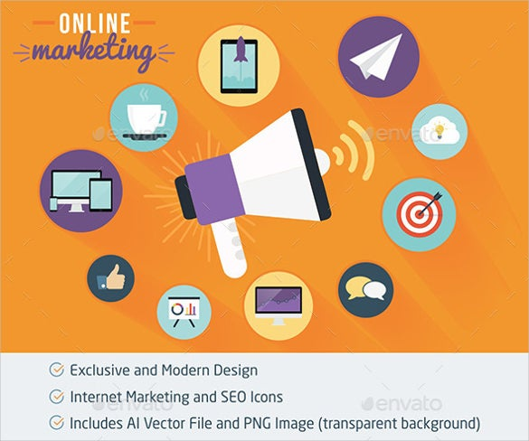 online marketing and seo flat icons download