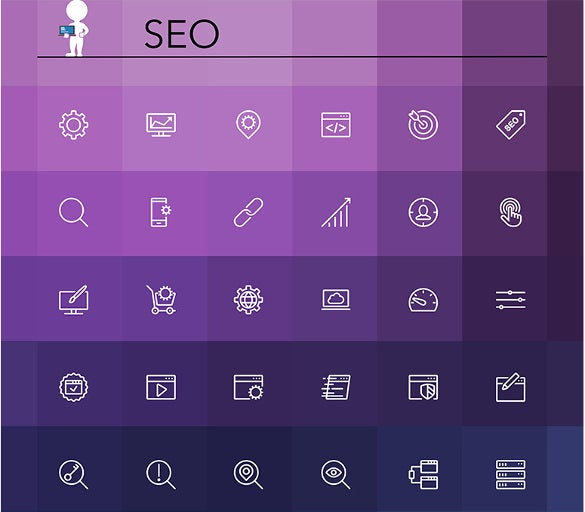 seo line icons template download