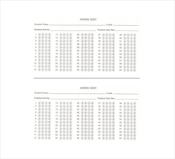 11  printable answer sheet templates  samples  u0026 examples