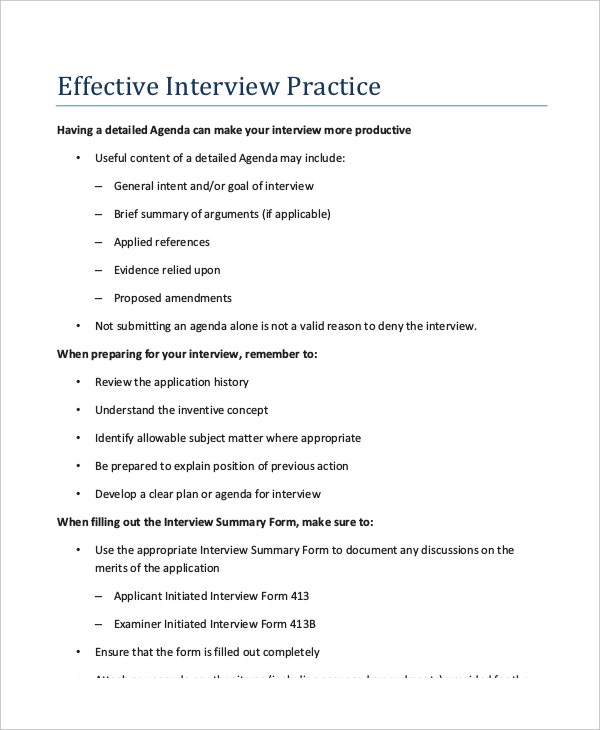Interview Agenda Template   Free Word Pdf Documents Download