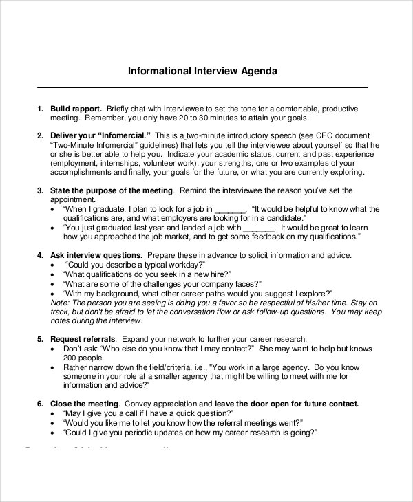 Interview Agenda Template 5 Free Word Pdf Documents