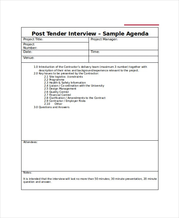 Interview Agenda Template - 5+ Free Word, Pdf Documents Download