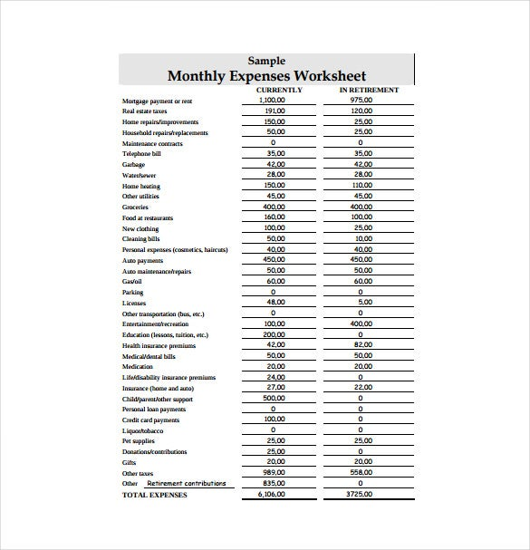 Monthly Expenses Worksheet Example PDF Template Free Download  Expense Sheet Template