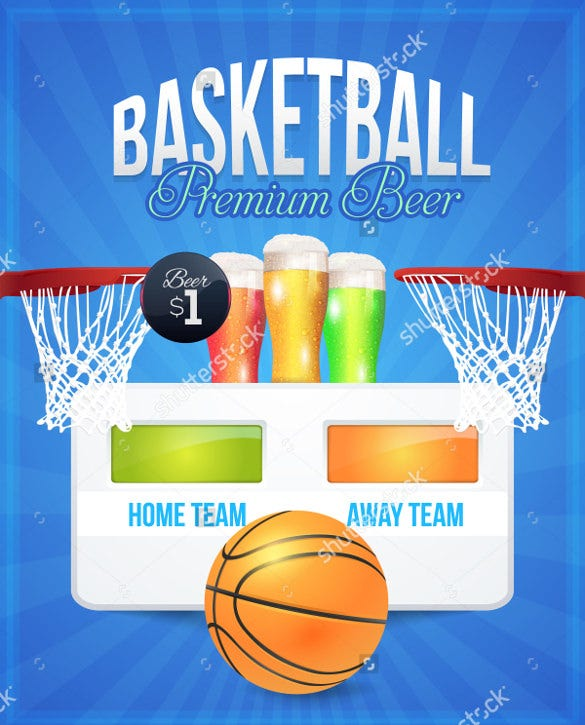 premium chilled beer event basketball flyer template