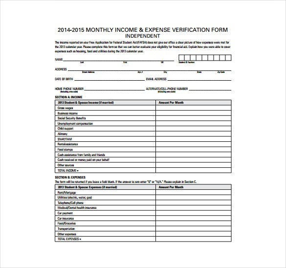9 Expense Sheet Templates Free Sample Example Format Download – Income and Expenses Worksheet