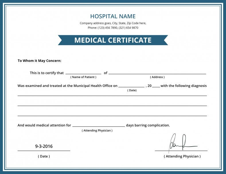 Nice Hospital Medical Certificate Template